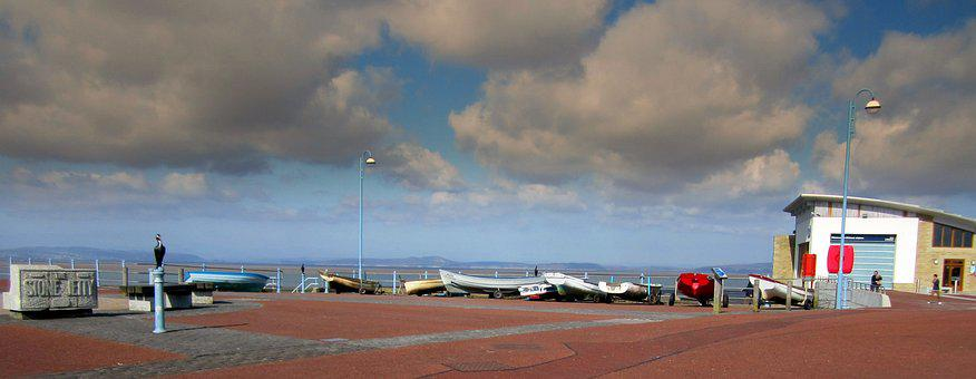 Blackpool, Boats, Sea, Lancashire, Coast, England, Sky