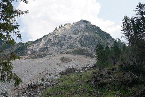 Rock Fall, Landslide, Vilsalpsee, Scree, Stones