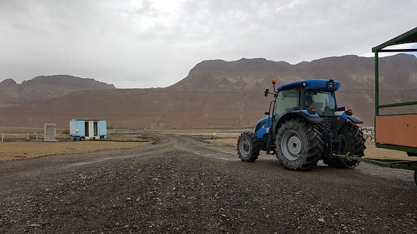Tractor, Blue, New Holland, Mountains, Away, Steinweg