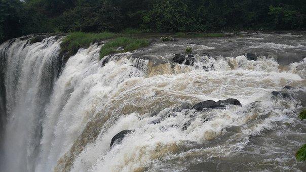 Waterfalls, Water, River, Rocks, Vegetation
