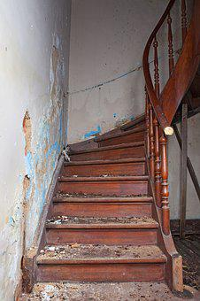 Ladder, Ruin, Steps, Old House, Handrail, Demolition