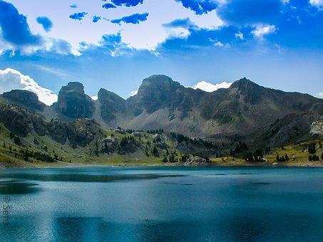 Nature, Mountain, Lake, Landscape, Summit, Clouds, Blue