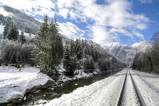 Austria, Neukirchen, Rails, Tracks, River, Hills