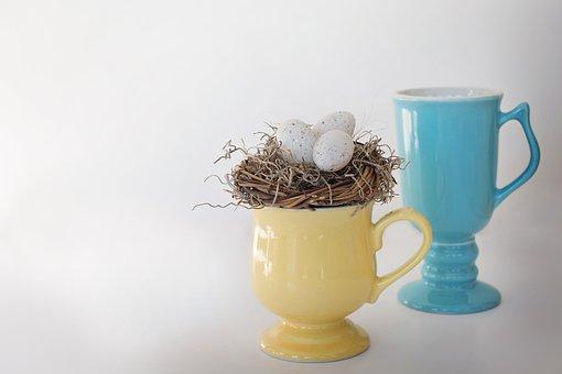 Mugs, Bird's Nest, Bird Eggs, Pastels, Spring, Easter