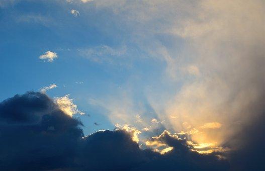 Clouds, Light, Sunset, Sky, Blue, Nature, White