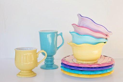 Dishes, Bowls, Mugs, Pastels, Pastel, Cup, Dish