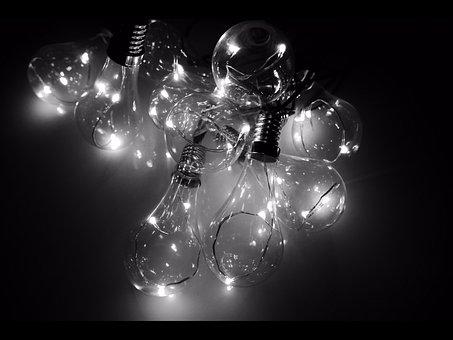 Black White, Bulbs, Led, Light, Electricity, Power