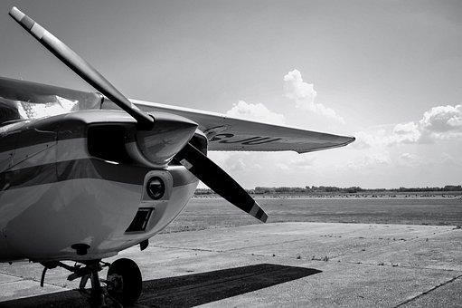 Flight, Aeroplane, Black And White, Fly, Aviation