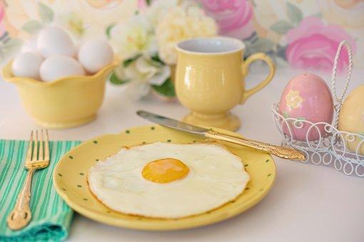 Fried Egg, Breakfast, Easter, Morning, Pastels, Food