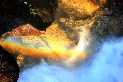 Rainbow, Waterfall, Norway, Rock, Force Of Nature