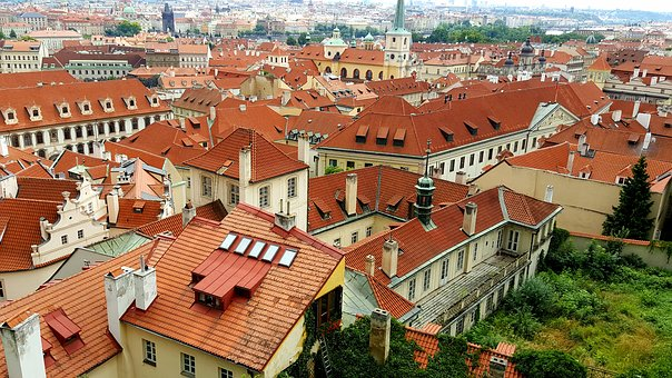 Prague, Roofs, Red, Old Town, Facades, Building, Bricks