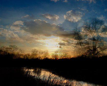 Water Reflections, Sunlight, Sunset, Dramatic, Scenic