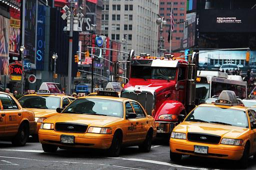 New York Times Square, Yellow Cabs, Broadway