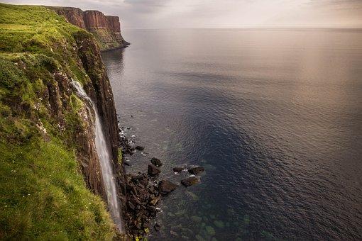 Isle Of Skye, Waterfall, Sea, Scotland, Skye, Green