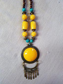 Necklace, Blue Yellow And Brown, Jewel, Accessories
