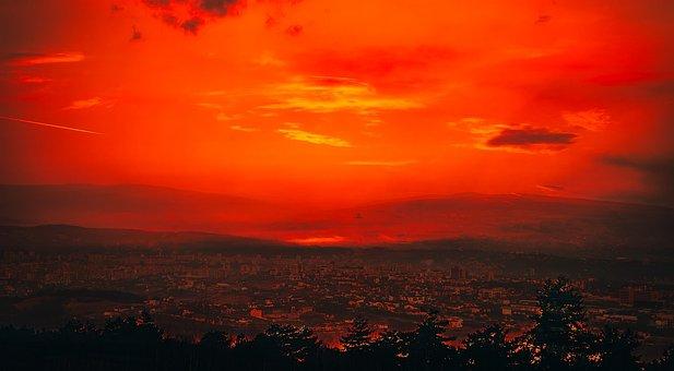 Cluj-napoca, Romania, City, Urban, Panorama, Sunset