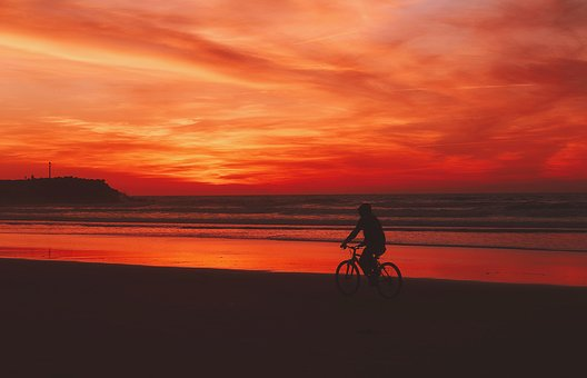 Sunset, Dusk, Beautiful, Sky, Clouds, Riding, Bicycle