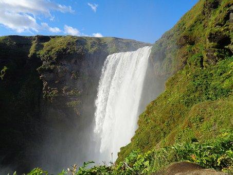 Waterfall, Iceland, Skogafoss