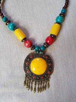 Necklace, Blue Yellow Red And Brown, Jewel, Accessories