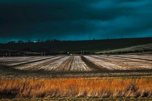 Landscape, Storm, Sky, Clouds, Rain, Geese, Birds