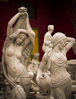 Woman, Statue, Sculpture, Figure, Stone Figure, Mermaid