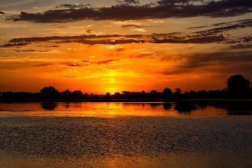 Sunset, Landscape, Marina, Sea, Silhouettes