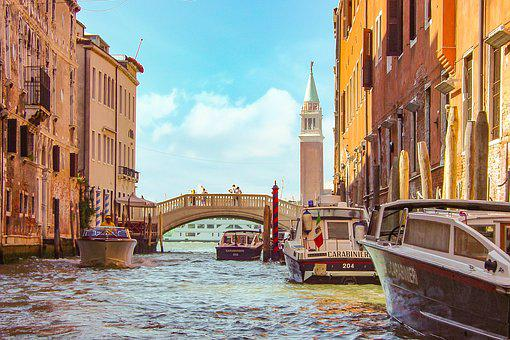 Carabinieri, Police, Venice, Bridge, Bell Tower, View