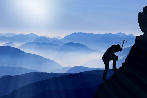 Climbing To The Top, Mountaineering, Success, Mountain