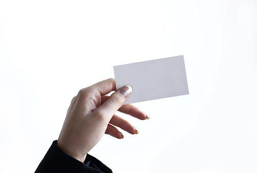 Business, Card, Hand, Woman, Holding, Blank