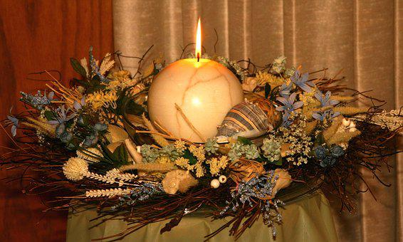 Candle, Decoration, Dried Flowers, Celebration, Flame