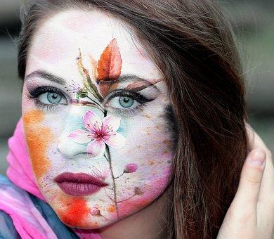 Girl, Portrait, Model, Beauty, Painted Face, Hair