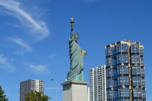 Paris, Statue Of Liberty, Blue Sky