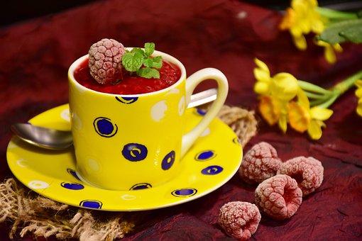 Raspberries, Sorbet, Raspberry Sorbet, Dessert