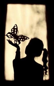 Shadow, Girl, Butterfly, Silhouette, Window