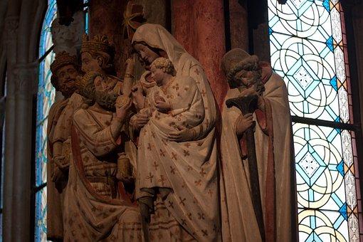 Religion, Maria, Jesus, Church, Figure, Stone