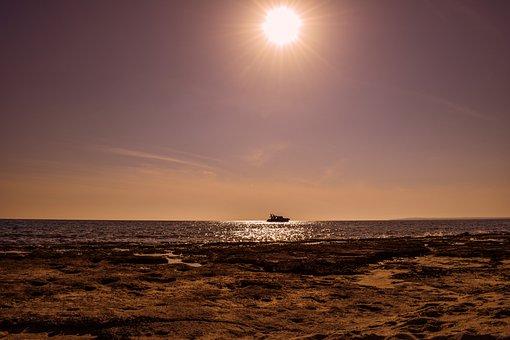 Boat, Sea, Sun, Afternoon, Nature, Sunlight, Shadows