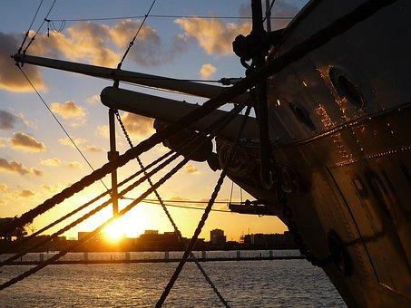 Amsterdam, Ship, Sunset, Netherlands, Autumn