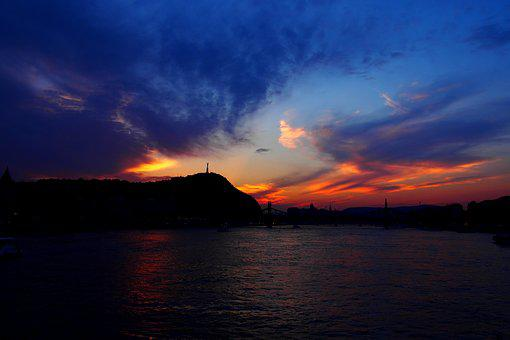 Sunset, Budapest, River, Danube, Shipping, Water, Scape