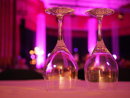 Glasses, Cover, Decoration, Ballroom, Table Cover