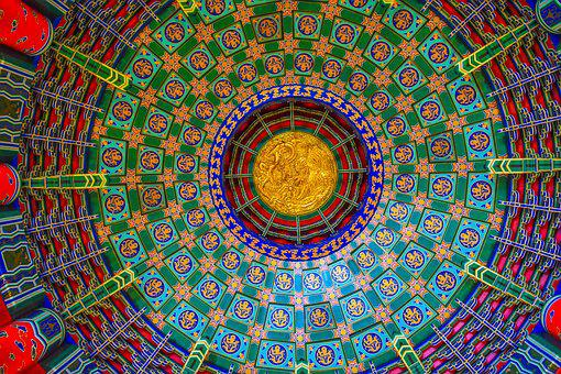 Temple, Abstract, Ceiling, Chinese, Colorful, Theatre
