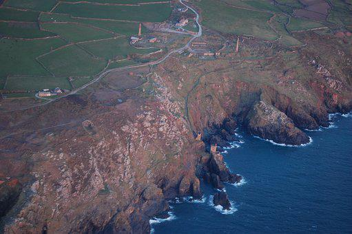 Aerial View, Mines, Cornwall, Botallack, Mining