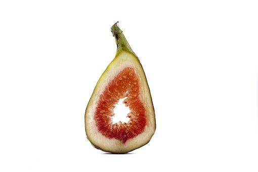 Fruit, White Background, Macro, Fig, Cut