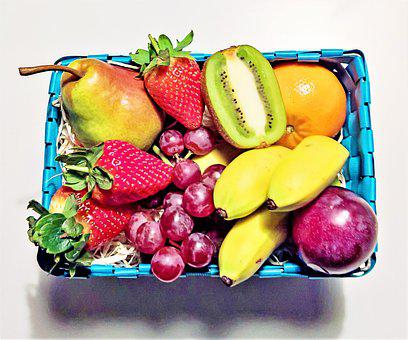 Fruit Basket, Many Fruits, Different, Bananas