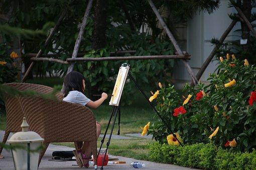 Child Painting, Paint, Kid, Flower
