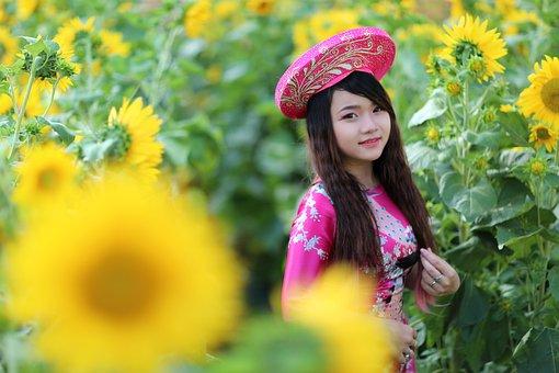 Sunflower, Girl, Model, Flower, Yellow, Summer, Field