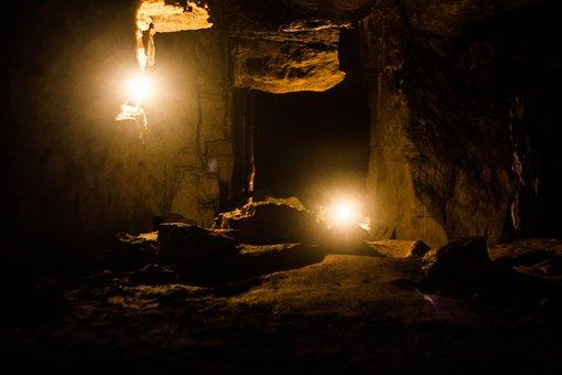 Cave, Quarry, Subterranean, Dark, Gallery, Candles