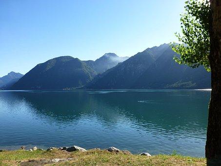 Itrosee, Lake, View, Water, Mirroring, Italy, Mountains