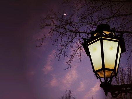 Street Lamp, Night, Moon, Landscape, Lighting, At Night