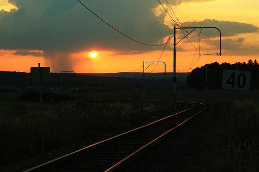 Railway, Sunset, Thunderstorm, Abendstimmung, Twilight