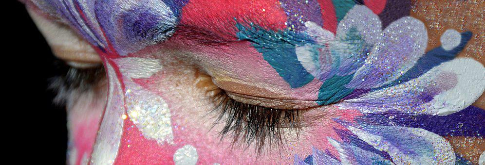 Make Up, Rouged Face, Close, Eye, Pink, Violet, White